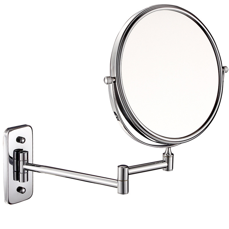 Wall mounted mirror,8 inch chrome,hotel supplies ireland,mirror,foldable,mounted easily,tilts,rotates,swivels into position,hotel mirror,hospitality products