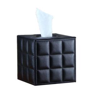 Black Cube Waffle Leather Tissue Box,Hotel Supplies Ireland,Tissue Box,Stylish Tissue Box,Stylish,black leather,Hotel Tissue Box